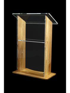 Amethyst 800 Acrylic/Veneer Lectern In Solid Oak