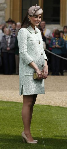Kate Middleton in a mint-green Mulberry coat.