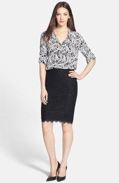 af7c97ac272 Diane von Furstenberg Silk Shirt  amp  Lace Pencil Skirt available at   Nordstrom Professional Attire