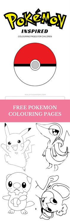 Coloring Pages | Free | Pokemon | Party | Cute | Funny | DIY | Names | Pikachu | Kids | Pokeball | More free printables @malaysian_mom