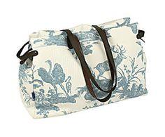 Bolsa de fin de semana de cuero y tela - azul y blanco
