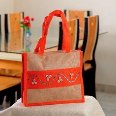 Beautifully Hand Embroidered Orange - Brown Bag of Recycled Jute