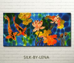 Painting  ORIGINAL  Silk Painting  Acrylic Painting  Wedding Gift  Fish Painting  Lotus Painting 12inX24in Free Shipping
