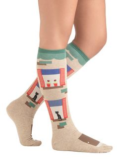 Suite Deal Socks - Tan, Multi, Novelty Print