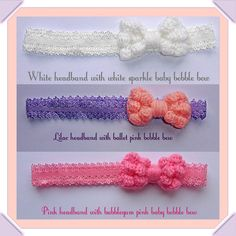 Baby, Toddler & Girl's,  Lace Headband (Elasticated) with handmade crochet Bow. on Etsy, £6.00