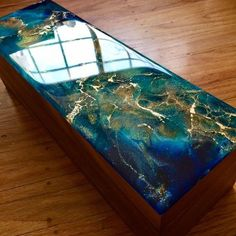 Custom Hand-Painted Acacia Wood Box - Functional Art - Art Box - Tea Box - Jewelry Box - Abst. : Custom Hand-Painted Acacia Wood Box - Functional Art - Art Box - Tea Box - Jewelry Box - Abst. Wood Resin Table, Rustic Outdoor Decor, Wood Table Design, Resin Furniture, Painting Furniture, Epoxy Resin Wood, Acrylic Pouring Art, Diy Resin Crafts, Tea Box