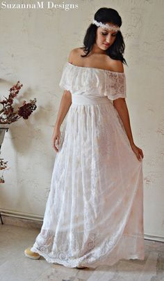 Ivory 100 Cotton Lace 70s Wedding Dress / by SuzannaMDesigns, $580.00