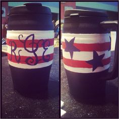 My hand painted, monogrammed, 'Merica, bubba keg- I want to make this!