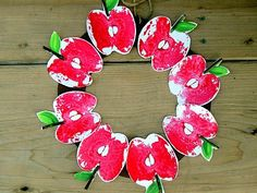 Apple Stamp Wreath with several other Apple Craft Ideas for a Johnny Appleseed Party. Apple Activities, Craft Activities For Kids, Preschool Crafts, Crafts For Kids, Preschool Apples, Craft Ideas, September Preschool, September Themes, Apple Wreath