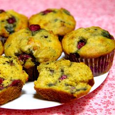 Low-Sugar High-Protein Lemon Raspberry Muffins. Would sub out sugar for honey, and use a different oil, but sounds yummy.