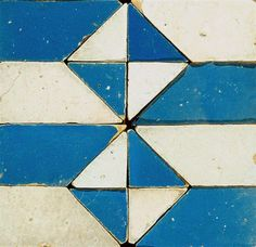 White and cerulean tile