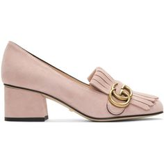 Gucci Pink Suede GG Marmont Loafer Heels (2,570 ILS) ❤ liked on Polyvore featuring shoes, loafers, pink, pink loafers, loafer shoes, loafers moccasins, leather sole shoes and pink shoes