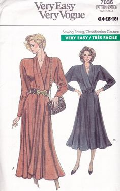 vintage 80s vogue women's dolman sleeves dress - save this pattern for later -- 80s Vogue 7036 Women Wrap Dresses Sewing Pattern Miss 14-16-18 – SewJewel
