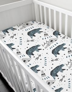 Baby boy crib sheet by Rock & Rollick. Handmade, exclusive design, limited quantities. Will be available in modern jersey and organic cotton - April 16th, 2016