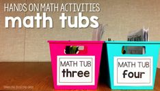 Hands on math activities for easy centers.