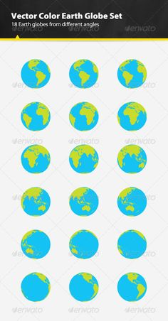 Vector Color Earth Globe Set #GraphicRiver 18 vector color Earth globes from different angles set. You can scale them up or scale them down to suit your needs. Use them in your game, app, banner, animation or web design. I also included layered Photoshop file with smart objects. This file contains: 18 vector color Earth globes from different angles 100% vector Layered objects AI, EPS and PSD files Recommended Items 9 Hand-Picked Logo Templates Of The Week ( more… ) Looking For Graphics?…