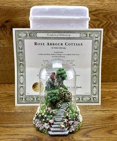 Rose Arbour Cottage Violet Schwenig Franklin Mint Dome Hand Painted ornament Rose Arbor, Arbour, Hand Painted Ornaments, Franklin Mint, Cottage, Artwork, Shop, Ebay, Work Of Art