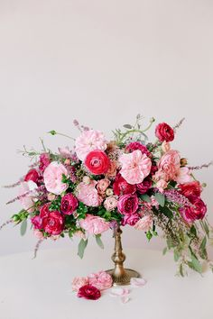 Romantic pink centerpiece designed by Haute Horticulture | Photo by Annabella Charles
