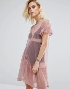 River Island Pleat Hem Smock Dress In Mesh