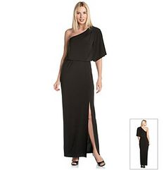 Dresses. Turn up the drama with this one-shoulder maxi dress from Jessica Simpson! Soft jersey knit creates a flattering drape while keeping you cool all night long. Featured in black One shoulder One flute sleeve Blouson top Floor length Pullover design Side slip Lined Polyester/spandex Imported