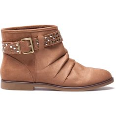 Pull & Bear Studded Ankle Boots With Strap ($64) ❤ liked on Polyvore