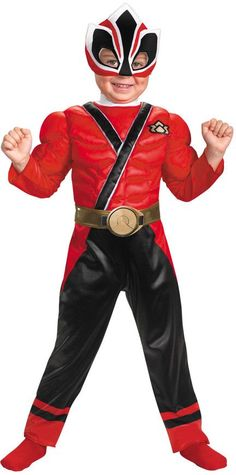 toddler boy's costume: red ranger samurai muscle