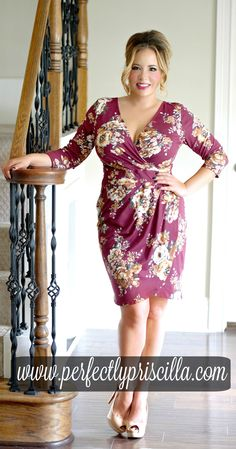 #floral #wine #dress #plussizedress #fashion #trendy #look #boutique