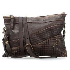 Lavaggio Stone Shoulder Bag grained cowhide grey