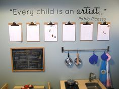 Clipboard art wall with Pablo Picasso quote. Classroom Setting, Classroom Design, Classroom Displays, Reggio Classroom, Reggio Inspired Classrooms, Art Wall Kids, Art For Kids, Kids Art Area, Kids Artwork