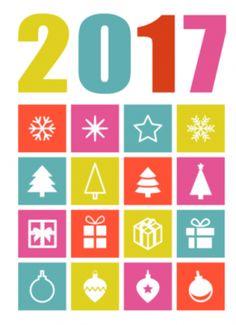 Zakelijke kerstkaart met gekleurde blokjes met kleine kerst illustraties erin. Erboven in mooie typografische gekleurde letters staat 2017.
