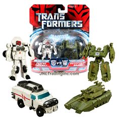 Hasbro Year 2007 Transformers Movies All Spark Battles Series 2 Pack Legends Class 3 Inch Tall Robot Action Figure - Autobot RESCUE RATCHET (Vehicle Mode: Hummer H2) vs Decepticon BRAWL (Vehicle Mode: Battle Tank)