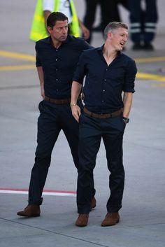 FIFA 2014; Bastian Schweinsteiger and goalkeeper Roman Weidenfeller attend the departure of Team Germany to Brazil at Frankfurt ,