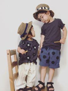 ご覧頂きありがとうございます✱  ひっさびさの兄妹コーデ。 ひっさびさに兄の服を買いました。 ドット