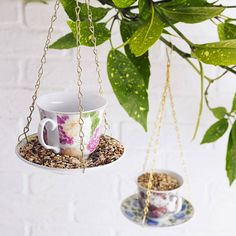 Cup and saucer bird feeder.Available in four colours to choose from (left to right on main image): Pink and yellow floral, Blue floral, Ruby Red floral, Pink floral.Why not bring a little shabby chic decoration to the garden with our charming hanging cup and saucer bird feeder. Features mis-matched, pretty vintage floral prints on the cup and saucer and finished with gold gilt rims. Complete with a hanging chain. Makes a perfect present for anyone who loves feeding the birds! To discuss your…