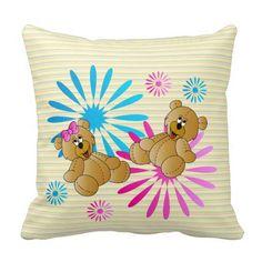 Sweet Little #Teddy #Bears #Pillows #zazzlebesties #zazzle #designsbydonnasiggy