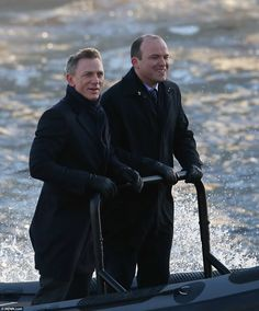 """Daniel Craig as James Bond and Rory Kinnear as MI-6 chief of staff Bill Tanner shooting scenes for """"Spectre""""."""