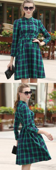 Fashion Plaid Belted Dress#Dresses#Women Dresses#Fashion Dresses#Women Fashion#Fall Fashion Dresses#Dresses On Sale#Fashion Trends#OASAP