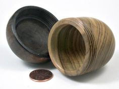 LV-3371  Chinese Pistachio & Walnut Acorn Jewelry Box, Pill Box, Trinket Box-SCREW CAP