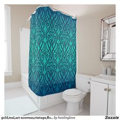 gold,teal,art nouveau,vintage,floral,art deco,chic shower curtain