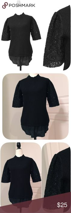 ❤️Ann Taylor❤️Laced Sleeve Wool Cable Knit Sweater Sweater has been gently worn but in like new condition. The fabric content is 42% rayon 30% nylon and 28% wool. Ann Taylor Sweaters