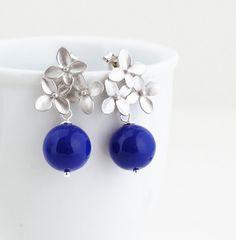 Monaco Blue Earrings Silver Hydrangea Flower by JacarandaDesigns