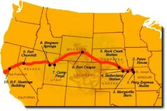 A great map that shows how the Pony Express riders traveled! Mystery Of History, Us History, American History, History Mysteries, Pony Express, You've Got Mail, Thematic Units, Old West, Nebraska