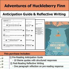 """Get students making """"big picture"""" connections with this Adventures of Huckleberry Finn anticipation guide and reflective writing.  This purchase includes a two page handout with quotes that relate to the text's theme.  Students are asked to respond by indicating whether they agree or disagree with the statement and then explaining their opinion."""