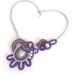 Bohemian purple necklace soutache OOAK soutache by sutaszula