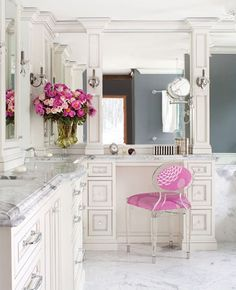 Beautiful bathroom- Carrera marble with a pop of pink