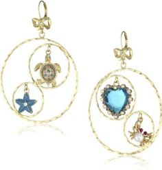 """Betsey Johnson """"Sea Excursion"""" Turtle and Crab Gypsy Hoop Earrings: Jewelry"""