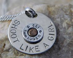 Shoot Like a Girl with 9mm Bullet Necklace