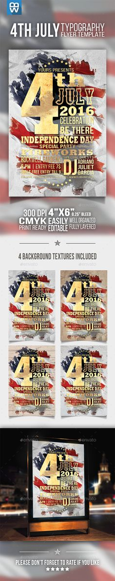 4th July Typography Flyer  #proud flyer #red white and blue #the fourth of july • Click here to download ! http://graphicriver.net/item/4th-july-typography-flyer/15914921?ref=pxcr