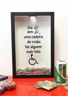 Quadro Porta Lacre em Lacre, campanha troque lacres por Cadeira de Rodas - Para Guardar e Trocar