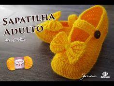 Sapatilha de Crochê Adulto   Mollet   Professora Simone Parte 2 - YouTube